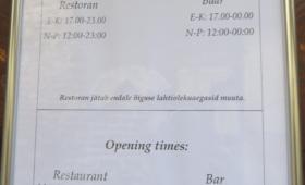 Restorani lahtiolekuaeg